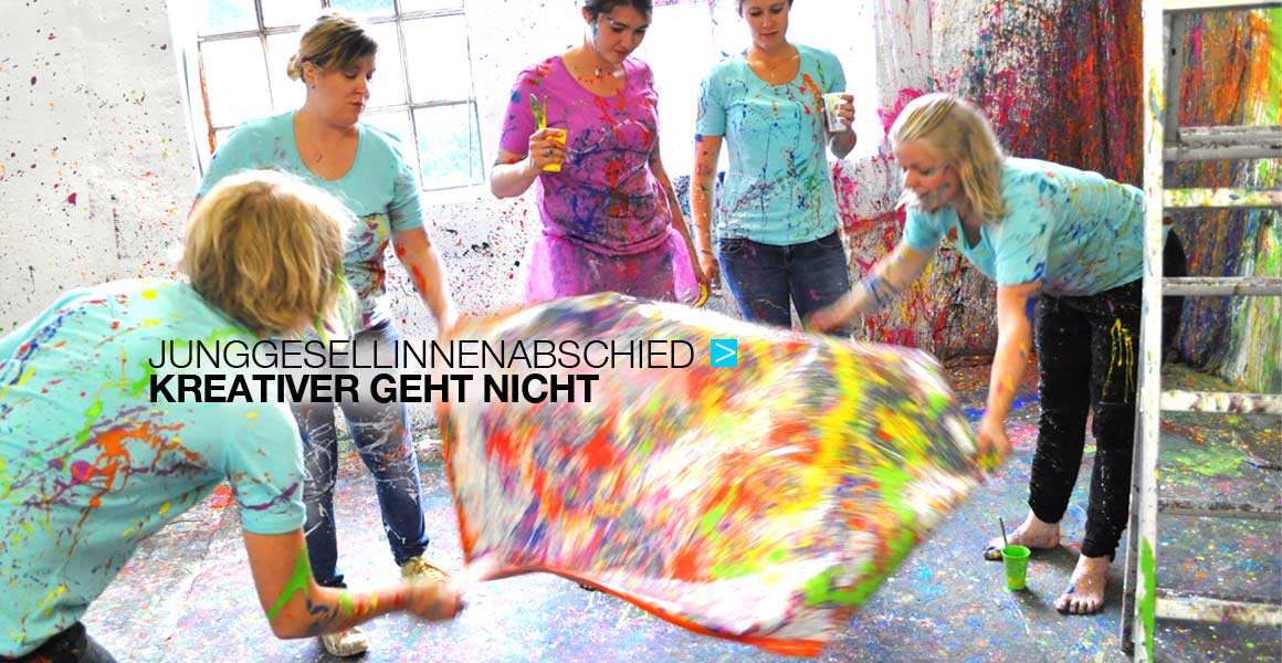 kreativer Junggesellinnenabschied in Lüneburger Action Painting Atelier