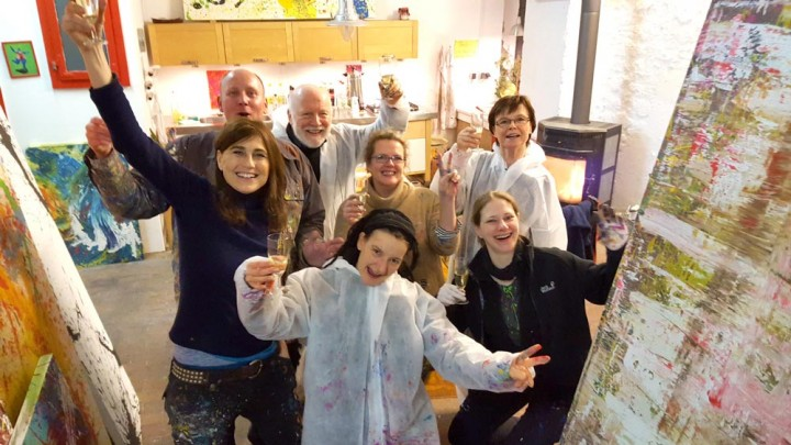Ein buntes Action Painting Silvesterevent 2016